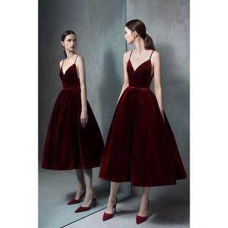 275ab5451cd7a カラードレス ワインレッド キャミソール 高級ベロア ミモレ丈 イブニングドレス(ロングドレス)