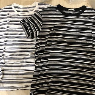 ジーユー(GU)の数回のみの着用で美品☆GU シンプルボーダーTシャツ 2枚セット S(Tシャツ/カットソー(半袖/袖なし))