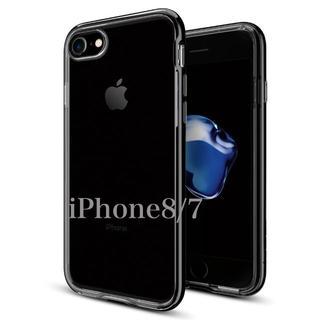 シュピゲン(Spigen)の米ブランド iPhone8/7 ケース 背面クリア バンパー ブラック(iPhoneケース)