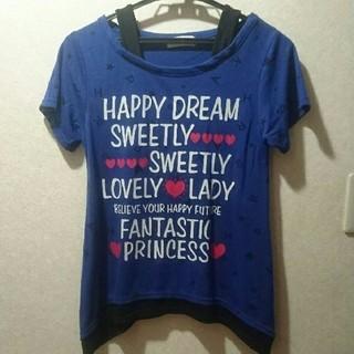 シマムラ(しまむら)の☆★☆ 160cm CLOSSHI しまむら ブルー紫 プリントTシャツ ☆★☆(Tシャツ/カットソー)