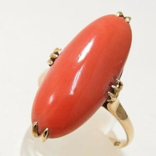 時間セール K18珊瑚/サンゴ指輪/リング #20号(リング(指輪))