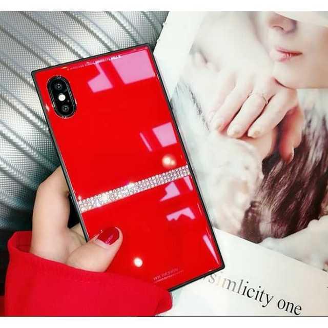 iphone xr 8 ケース 、 iPhoneXR ガラスケース カバー レッド スクエアケース 赤の通販 by トシ's shop|ラクマ