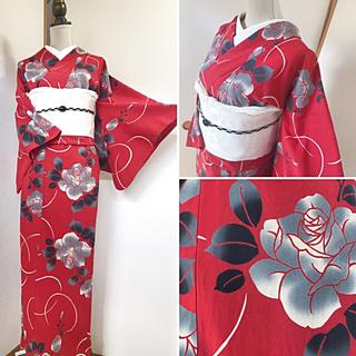【注染浴衣*】艶やかな大人の赤* 薔薇浴衣(浴衣)