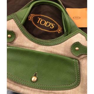トッズ(TOD'S)のTOD'S レザー&キャンバス バッグ(ハンドバッグ)
