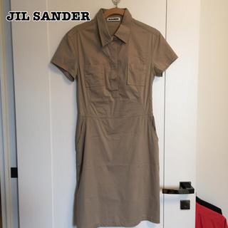 ジルサンダー(Jil Sander)のジルサンダー シャツワンピース ベージュ 34 S(ひざ丈ワンピース)