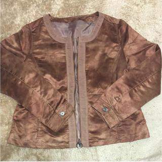 ブラウン スエード ジャケット【お値下げ】(ノーカラージャケット)