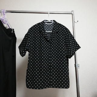 GU - GU ドットオープンカラーシャツ ブラック Lサイズ