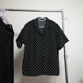ジーユー(GU)のGU ドットオープンカラーシャツ ブラック Lサイズ(シャツ/ブラウス(半袖/袖なし))