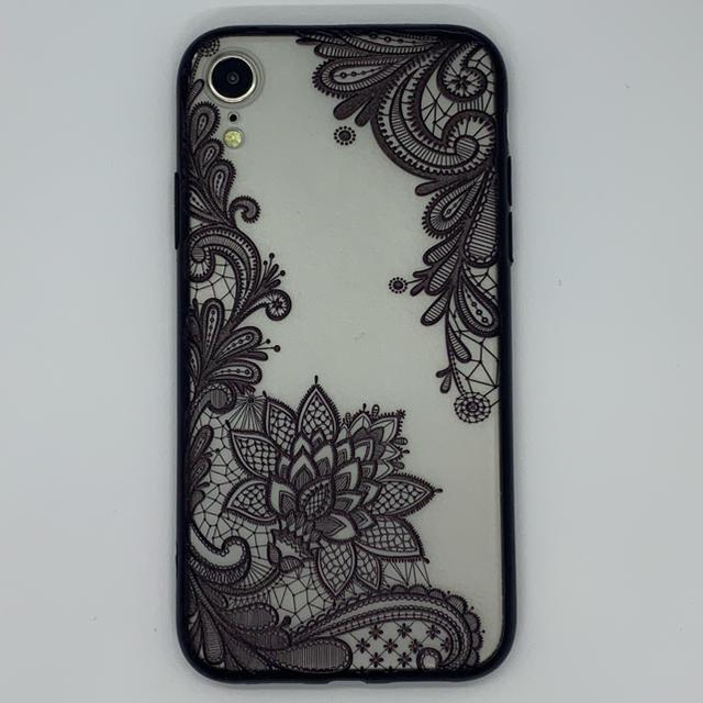 モスキーノ アイフォーン8 ケース 芸能人 | iPhoneXR 用 3D レース花 シェルカバー ブラックの通販 by WJSHOP|ラクマ