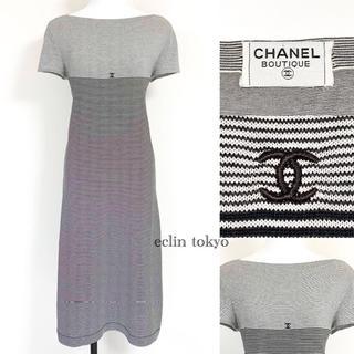 シャネル(CHANEL)のシャネル ココマーク ボーダー 半袖 Tシャツ マキシ ワンピース E1390(ロングワンピース/マキシワンピース)