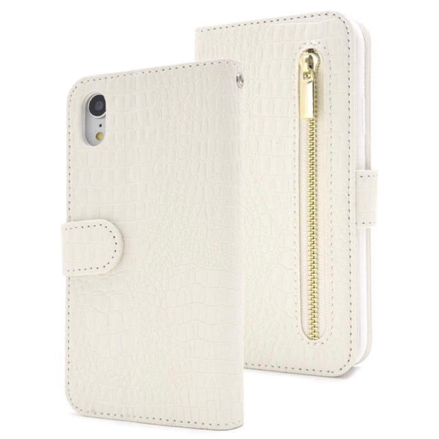 iPhoneXR クロコダイル手帳型ケース ホワイト の通販 by shop|ラクマ