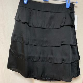 ハニーズ(HONEYS)の新品 タグ付き スカート 黒 ブラック フリル リボン(ひざ丈スカート)