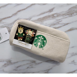 Starbucks Coffee - 【新品】スターバックス 海外限定 ペンケース ポーチ ピンバッチ付き ベアリスタ