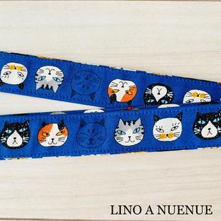 ウクレレストラップ 猫柄ブルー フック式(その他)
