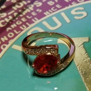 シャネル(CHANEL)の19号 赤いキュービックゴールドリング(リング(指輪))