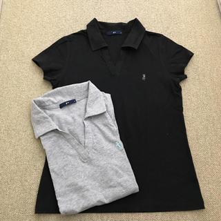 ジーユー(GU)のgu ポロシャツ M レディース 黒 グレー2枚(ポロシャツ)