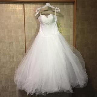 《送料無料》海外ウェディングドレス 白 ビーズ シフォン 美品 クリーニング済(ウェディングドレス)