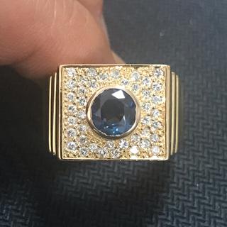 K18 天然ダイヤD0.62ct・サファイアS1.58ct YG 印台 リング(リング(指輪))