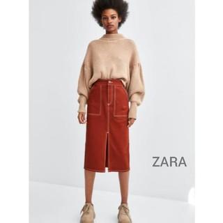 ZARA - 【新品】ZARA・フロントスリット ステッチ入りタイトスカート テラコッタ