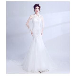 1e6ff887e7894 ウエディングドレス ホワイト ソフトチュール 繊細レース マーメイドライン(ウェディングドレス)