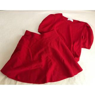 ニーナミュウ(Nina mew)のニーナミュウ セットアップ 赤 Nina mew スカート レッド 上下セット(セット/コーデ)