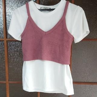 シマムラ(しまむら)の【しまむら】新品未使用 チューブトップキャミ Tシャツ 2点セット(ベアトップ/チューブトップ)