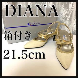 5e57f2283205e ダイアナ(DIANA)のDIANA ダイアナ ポインテッドトゥ ストラップ パンプス ゴールド 21.5(ハイヒール
