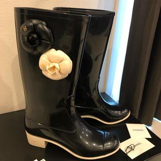 CHANEL - シャネル 美品 カメリア付き レインブーツ CHANEL ブーツ 37 長靴