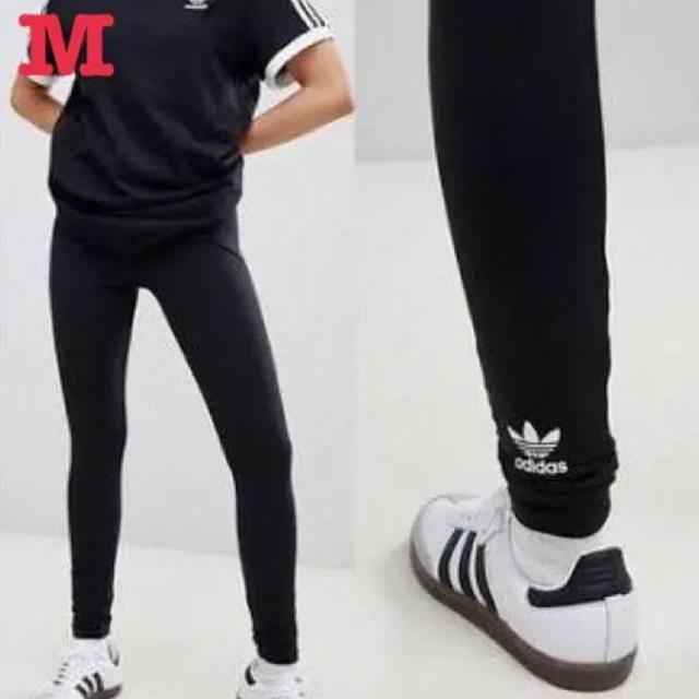 adidas(アディダス)のアディダス オリジナルス トレフォイル バックロゴ レギンス 黒 M 新品未使用 レディースのレッグウェア(レギンス/スパッツ)の商品写真
