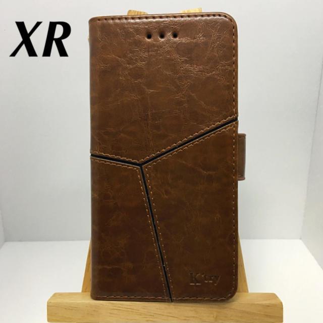 アイフォンXR iPhoneXR手帳型ケース☆茶☆スリット☆送料込☆PUレザーの通販 by ロゴ's shop|ラクマ