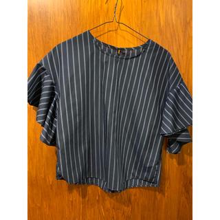 ジーユー(GU)のトロミ ブラウス ストライプ GU(シャツ/ブラウス(半袖/袖なし))