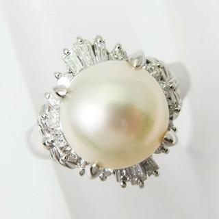 Pt900 天然アコヤ真珠 ダイヤモンド リング 8号[f452-8](リング(指輪))