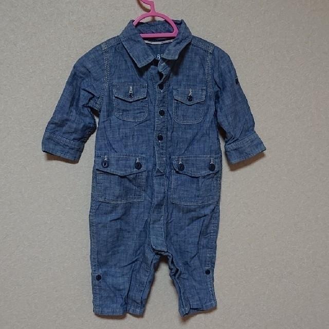 babyGAP(ベビーギャップ)のbabygap 70㎝ ロンパース デニム つなぎ boys 男の子 未使用 キッズ/ベビー/マタニティのベビー服(~85cm)(ロンパース)の商品写真