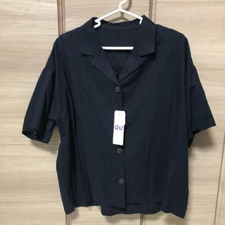 ジーユー(GU)のリネンブランドオープンカラーシャツ(シャツ/ブラウス(半袖/袖なし))