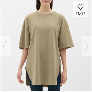 ジーユー(GU)のヘビーウエイトオーバーサイズT(5分袖)(Tシャツ(半袖/袖なし))