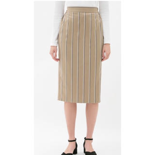 ジーユー(GU)のGU ストライプナローミディスカート(ひざ丈スカート)