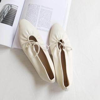 エディットフォールル(EDIT.FOR LULU)のribbon gather flat shoes 一点のみ(バレエシューズ)