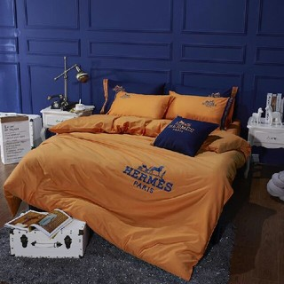Hermes - 四季適用★希少!! 高級感 寝具カバー 2枚枕カバー 4点セット 掛け布団カバー