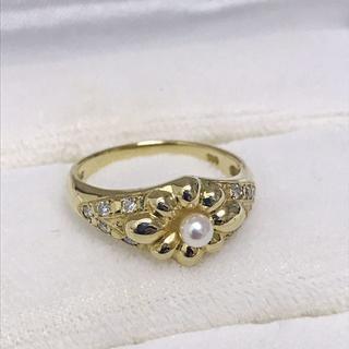 クリスチャンディオール(Christian Dior)の【美品】クリスチャン ディオール 指輪 K18YG パール ダイヤ(リング(指輪))