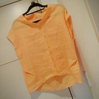 ザラ(ZARA)のCOLLEGE GALLARDAGALANTE⭐麻 トップス オレンジ(シャツ/ブラウス(半袖/袖なし))