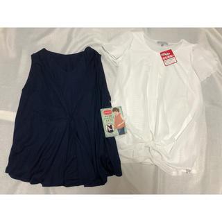 西松屋 - ✴︎新品✴︎L 2点セット 白と紺 マタニティトップス 授乳服 夏服 半袖