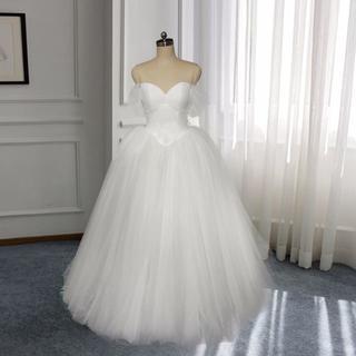 fe520bbcf09c6 ウエディングドレス プリンセスライン オフショルダー 高品質! 結婚式 ミニトレ(ウェディングドレス)