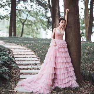f20f34ef2bdab カラードレス ピンク キャミソール タンクトップ 結婚式 披露宴 イブニングドレ(ウェディングドレス)