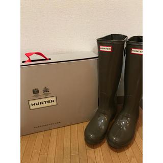 ハンター(HUNTER)の新品未使用 箱付 ハンター Huter レインブーツ  カーキ(レインブーツ/長靴)