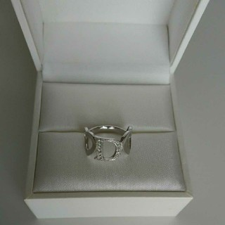 クリスチャンディオール(Christian Dior)の【クリスチャン・ディオール】リングDハート指輪パヴェラインストーンシルバー (リング(指輪))