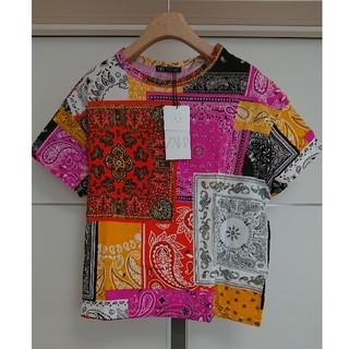 ザラ(ZARA)のZARA ザラ ペイズリー クルーネック Tシャツ 半袖(Tシャツ(半袖/袖なし))