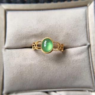 194 k18ゴールドリング 翡翠リング ダイヤモンドリング 指輪 ピンクゴー(リング(指輪))