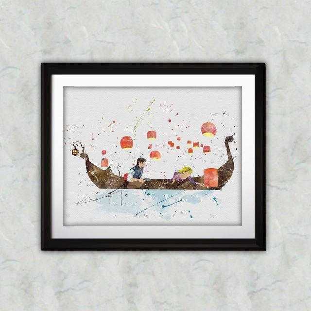 Disney(ディズニー)の日本未発売!ラプンツェル&フリンライダー・アートポスター【額縁つき・送料無料!】 エンタメ/ホビーのアニメグッズ(ポスター)の商品写真