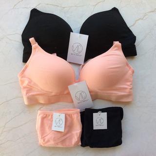 ★新品 ノンワイヤーブラセットvc ②色セット ブラック  ピンク(ブラ&ショーツセット)