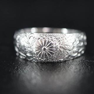 Pt1000 ホールマーク 刻印あり 菊紋 和 彫刻 デザイン リング(リング(指輪))